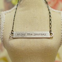 Enjoy the Journey - Antiqued Silver Quote Charm on Gunmetal Chain Necklace