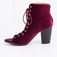 Burgundy Velvet Stacked Heel | Lace-Up | rue21