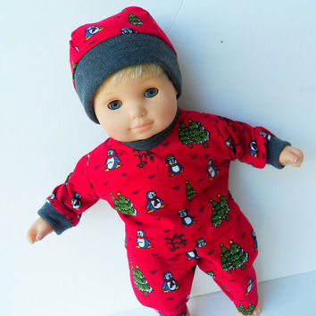 "American Girl Bitty Baby Clothes 15"" Doll Clothes Boy Red Burgundy Penguin Pants, Hat, Shirt or 3pc Pajamas Christmas Winter"