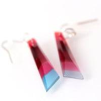 Stripes of Blues, Pinks and Reds - Fused Glass Jewel Dangle Earrings - Geometric Gem Earrings made of Glass