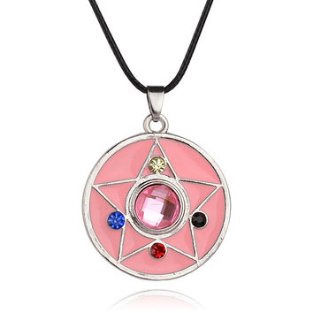 Pink Color Pendant High Quality Sailor Moon Power Necklace Magic Pentacle Necklace Sailor Moon Jewelry Cute Gift For Baby Girls