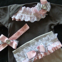 NEWBORN baby girl take home outfit complete shirt pants grey pink with rhinestones bows AVAILABLE in 3 and 6 month size