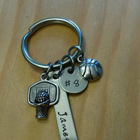 Hand Stamped Basketball Keychain - Personalized Basketball Team Gift