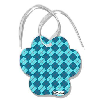 Blue Argyle AOP Paw Print Shaped Ornament All Over Print by TooLoud