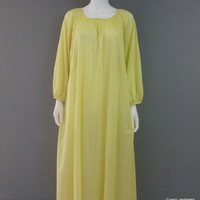 Vintage Sheer Yellow Free Fitting Nightgown 1980s Womens Nightgown S-XL Dressing Gown