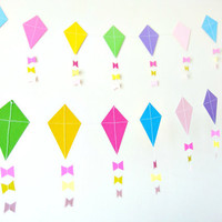 Paper Kite Garland - Nursery Decor, Baby Shower, Childrens Room Decor, party decorations, Kite bunting
