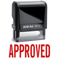 APPROVED Red Office Stock Self-Inking Rubber Stamp