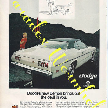 Vintage 1970 70's Dodge Demon Muscle Car Man Cave Wall Art Decor