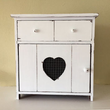 White wood cabinet, distressed, storage box