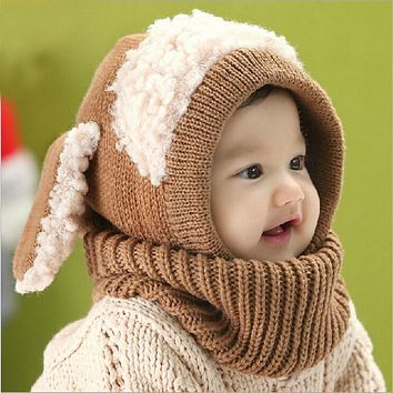 2017 Autumn Winter Warm Hat Boys Girls Baby Hat Scarf Set Lovely Knitted Cotton Hats Scarves Fashion Kids Cartoon Cow Cap Collar