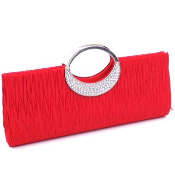 SFG HOUSE brand Women Evening Clutch Bag Satin Rhinestone Metal Round Handle Bag Bridal Wedding Purse & Handbag Day Clutches