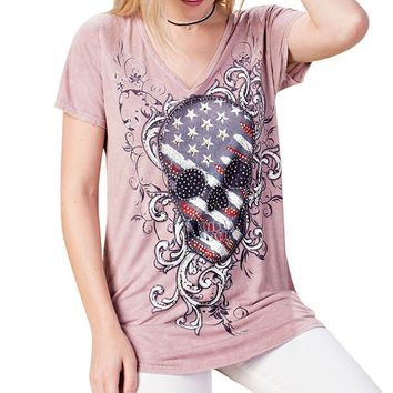 Pink USA Theme Vocal Bling Skull Top