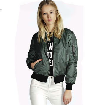 Women Bomber Jacket 2016 Fashion Zippers Pockets Autumn Winter Army Green Basic Jacket Biker Outwear chaquetas