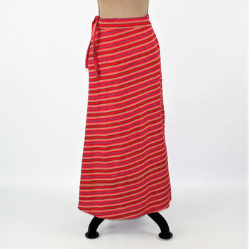 Wrap Skirt Women Maxi Skirt Long Cotton Skirt Hippie Red Stripe Skirt Hippie Clothes Ethnic Guatemala Vintage Clothing Womens Clothing