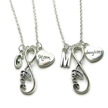 2 Mom And Daughter Necklaces, Mother Daughter Necklaces, Infinity Necklaces, Necklaces Mother Daughter Gift For Mom Daughter ,Personalized