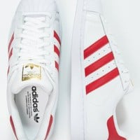 adidas Originals SUPERSTAR FOUNDATION - Trainers - white/scarlet - Zalando.co.uk