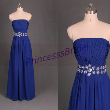 Floor length royal blue chifon prom dress with crystals,2014 elegant women gowns on sale,cheap simple dresses for wedding party.