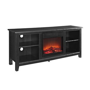 "58"" Black Wood TV Stand with Fireplace Insert"