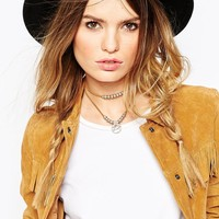 ASOS Western Leather Cord Disc Choker Necklace