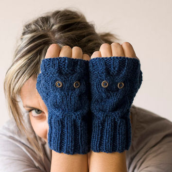 Blue owl fingerless gloves , mittens Black Friday Sale, Cyber Monday Sale