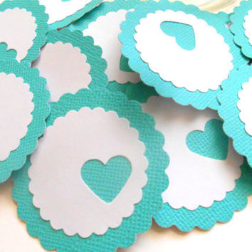 12 Adhesive Labels - Turquoise, 2inch Scallop Circle, Heart Punched, Gift Tags, Baby Shower Favors, Mason Jar Labels, Wedding Favors