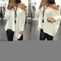 Slash Neck Long Sleeve Blouse