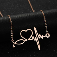 2016 New Medical Stethoscope Love Heart Chain Necklace Gold Bijoux Love You Collier Femme Necklaces Christmas Gifts