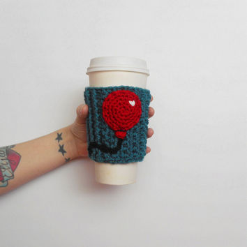 Red Balloon Crochet Coffee Cozy in Teal, ready to ship.