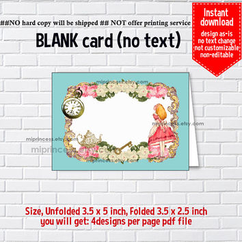 Instant Download, blank Card, Alice in wonderland #821, food tent Card, place card, 3.5x2.5inch printable , non-editable NOT CUSTOMIZABLE