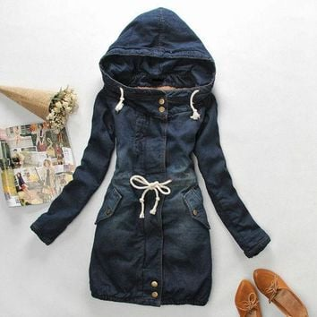 PEAPUG3 New Winter slim berber fleece liner slim drawstring waist  hooded denim wadded jacket thickening outerwear female = 1920210500