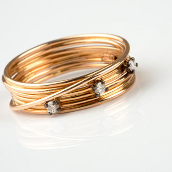 Diamond Wire Band, Diamond Band Ring, Gold Nest Ring, Knot Gold Ring, Solid Gold Wire Ring, Wire Band, Diamond Band Ring, Women Wire Ring