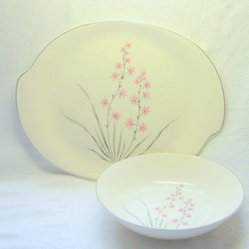 Mid Century Platter Serving Bowl Modern Pink Silver Floral China Wedding Cottage Shabby Chic Vintage Platters Serving Bowls