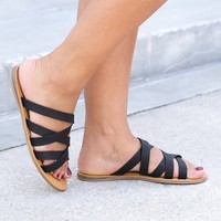 Happiness Flat Sandals - Black