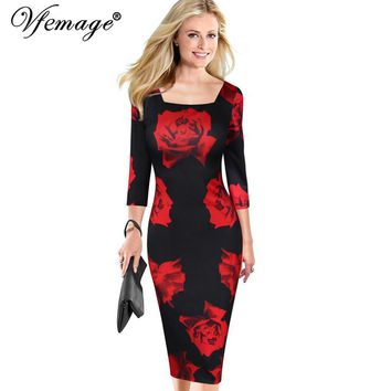 Vfemage Womens Elegant Vintage Flower Floral Print Square Neck Casual Party Evening Special Occasion Pencil Sheath Dress 4052