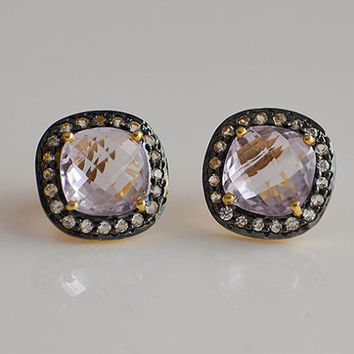Pink Amethyst White Topaz Pavé Cushion cut Earrings - faceted natural gemstone - February Birthstone
