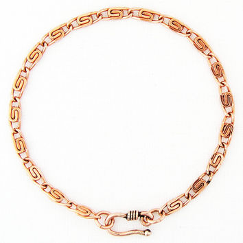 Solid Copper Fine Celtic Scroll Link Bracelet Chain BC61, Women's Small, Medium and Large Bracelet Chains