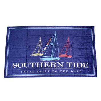 Three Sails Beach Towel in Blue Lake by Southern Tide