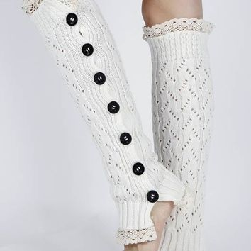 LEG WARMER LACE TOP AND BOTTOM KNEE HIGH BUTTON TRIMMED