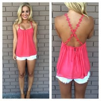 Coral Rose Embroidered Strap Cross Back Top