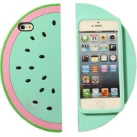 Green 3D Sector Pink Watermelon Shape Soft Silicone Protective Case for Apple Iphone 5 5S