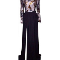 Printed Long Sleeve Backless Sheath Pleated Maxi Dress with Slit