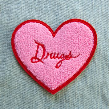 "Pink ""Drugs"" Heart Chenille Iron-On Patch"