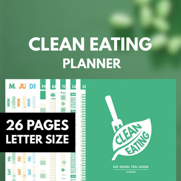 Clean Eating Planner Printable Letter, Health Planner, Meal Planner, Weight loss planner, Clean Eating Journal, Diet Planner, Fitness