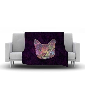 "Ancello ""Rainbow Cat"" Pastel Purple Fleece Throw Blanket"