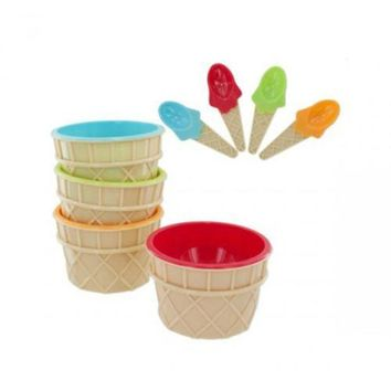 ONETOW 4pc Ice Cream Bowl/spoon