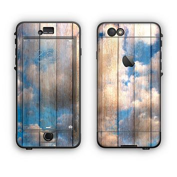 The Cloudy Wood Planks Apple iPhone 6 LifeProof Nuud Case Skin Set