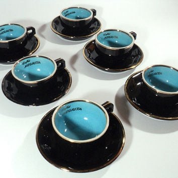 6 Cups of Coffee Negrita, Espresso Set with Saucer, Expresso Black & Blue Cups,  French Two-Tone and Gold Tea Service