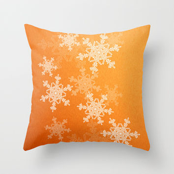 Orange snowflakes Throw Pillow by Silvianna