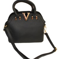 Black Mini V Satchel Bag