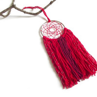 Red Dream Catcher Red Dreamcatcher Red Wall Hanging Small Dream Catcher Yarn Wall Hanging Bohemian Wall Decor Nursery Crib Mobile Red Wine